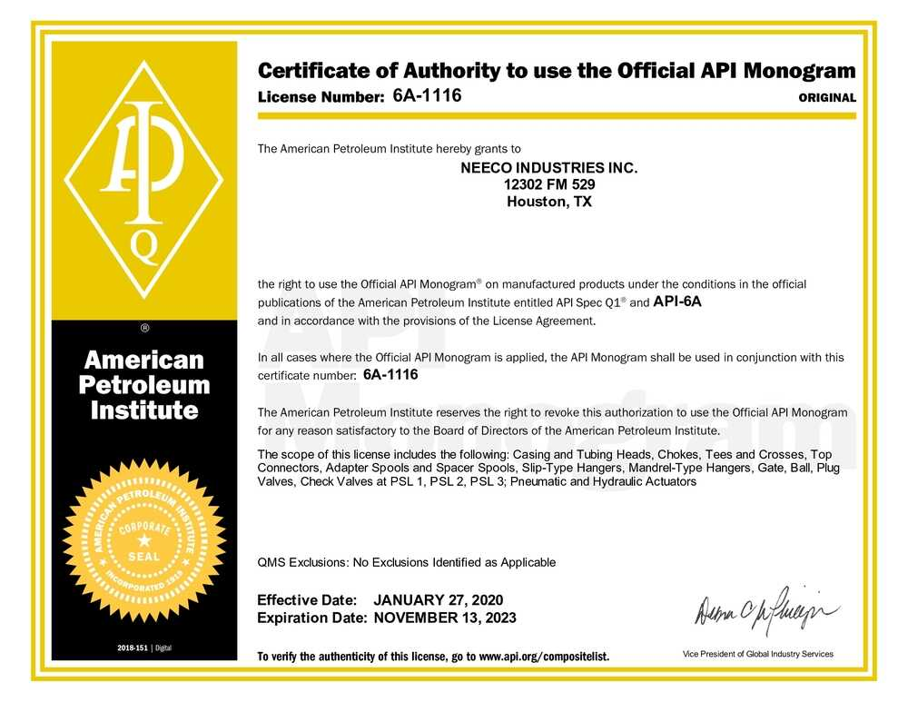 Certificate of Authority to use the Official API Monogram 6a-1116